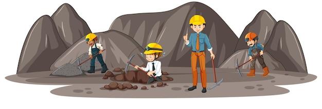 Mijnbouwscène met veel ingenieurs