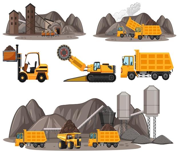 Mijnbouwscène met verschillende soorten bouwvrachtwagens
