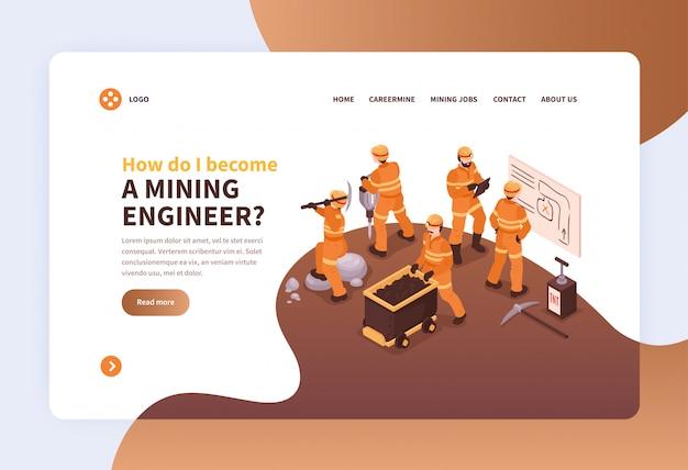 Mijnlandingsweb-pagina ontwerpconcept met beelden van mijnarbeiders in eenvormige en klikbare linksillustratie