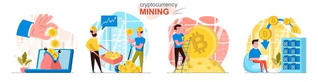 Mijnscènes voor cryptocurrency in vlakke stijl