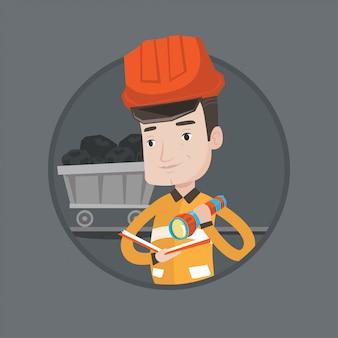 Mijnwerker die documenten vectorillustratie controleert.