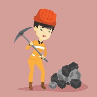 Mijnwerker die met houweel werkt.