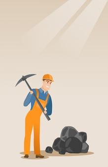 Mijnwerker die met pikhouweel werken