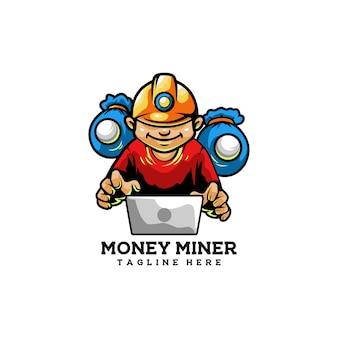 Mijnwerker geld werker hacker steen
