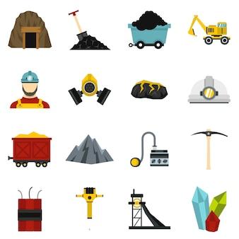 Mijnwerker instellen plat pictogrammen