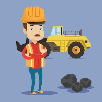 Mijnwerker met een groot graafwerktuig op achtergrond.