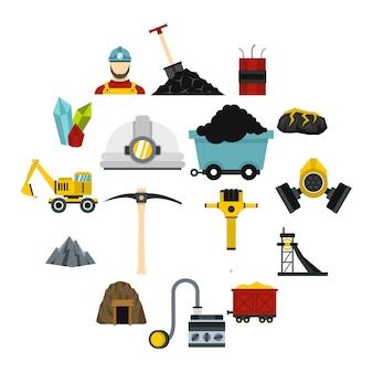 Mijnwerker set plat pictogrammen