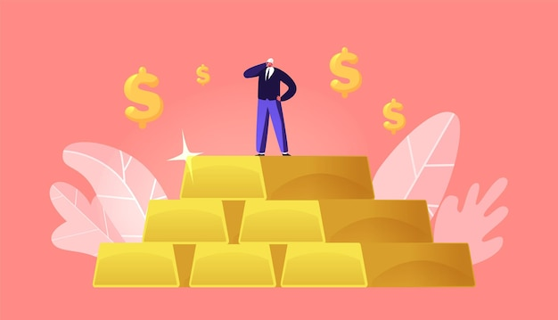 Mijnwerkerkarakter met helmstandaard op enorme stapel gouden staven met dollartekens eromheen Premium Vector