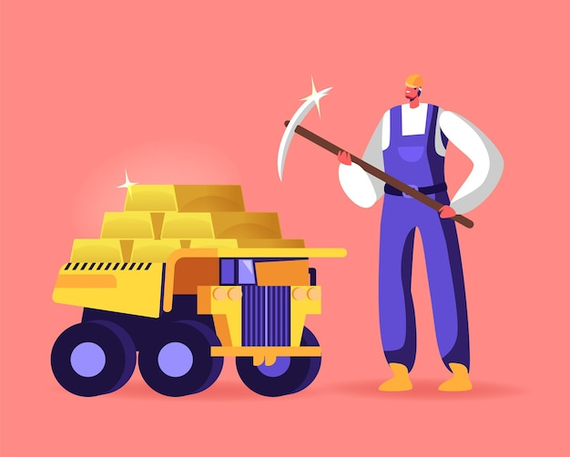 Mijnwerkerkarakter met houweeltribune bij vrachtwagenhoogtepunt van gouden staven.