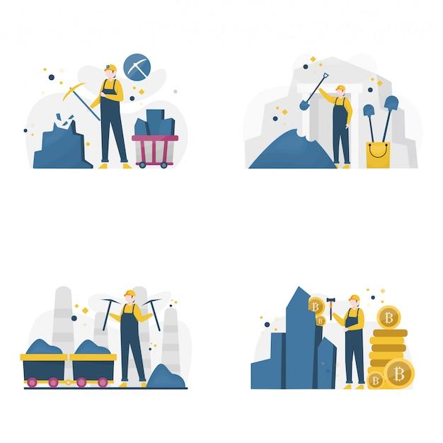 Mijnwerkers graven illustratie van goud, steenkool en diamanten,