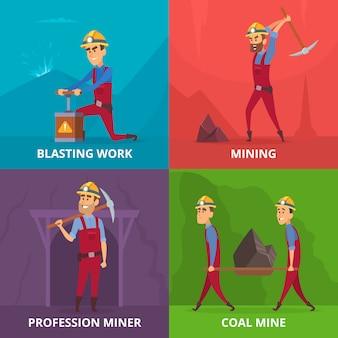 Mijnwerkers karakters op het werk