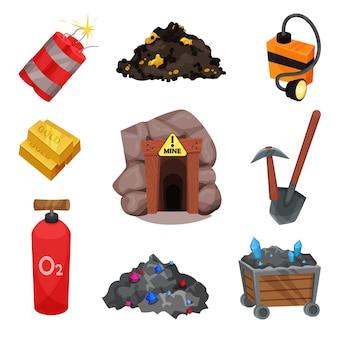 Mijnwerkershulpmiddelen op witte achtergrond. minerale hulpbronnen.