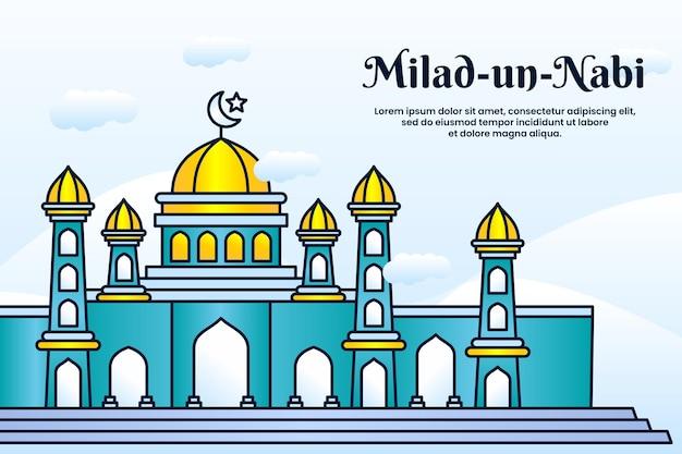 Milad un nabi mubarak festivalbanner met moskeeachtergrond