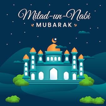 Milad un nabi mubarak festivalgroet met moskeeachtergrond