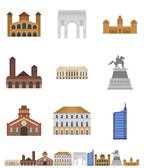 Milan italië stad skyline pictogrammen instellen