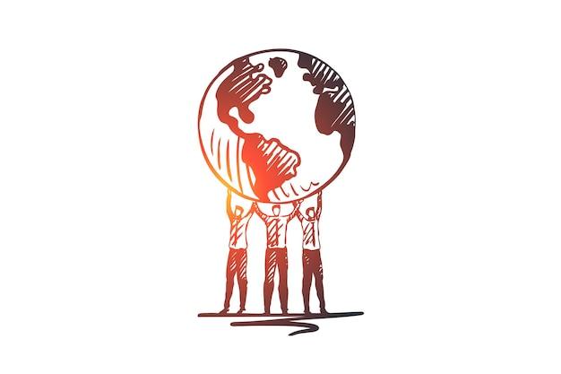 Milieu, ecologie, aarde, wereld, globe concept. hand getekend earth globe in menselijke handen concept schets.