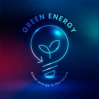 Milieu gloeilamp logo vector met groene energie tekst