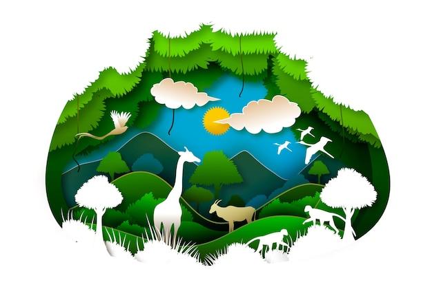 Milieu-karakter en zon concept in papierstijl