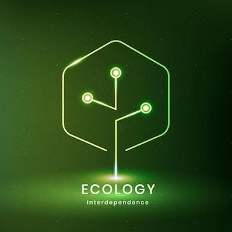 Milieu logo vector met ecologie tekst