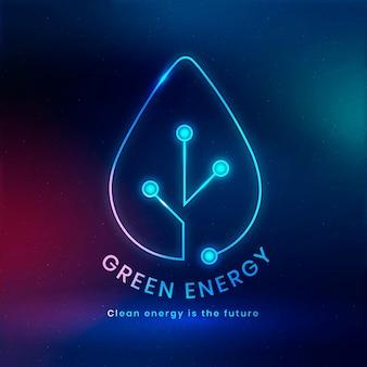 Milieu logo vector met groene energie tekst