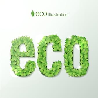 Milieu met ecotekst samengesteld uit letters gevormd door groene bladeren