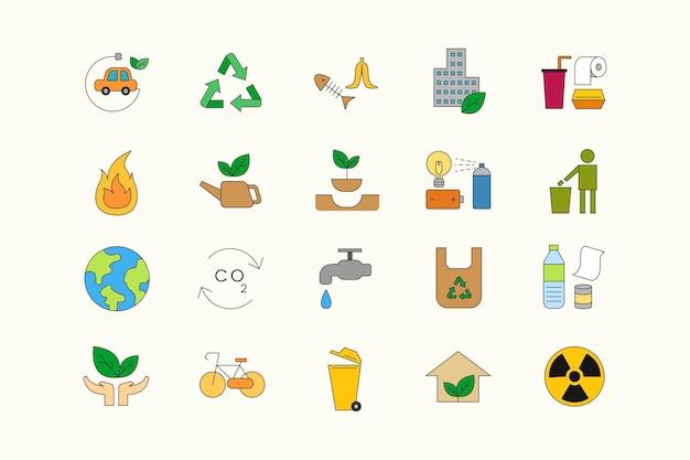 Milieu pictogram ontwerpset elementen