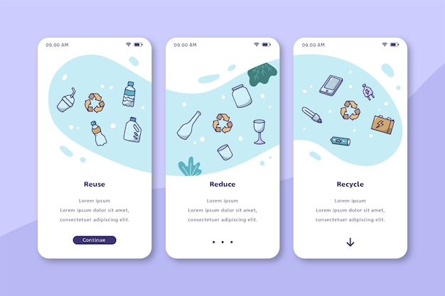 Milieu recycling mobiel interfaceontwerp