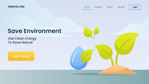 Milieu sparen gebruik schone energie om de natuur te redden voor de startpagina van de websitesjabloon