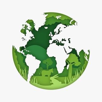 Milieuconcept in papierstijl met aarde