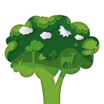 Milieuconcept in papierstijl met boom
