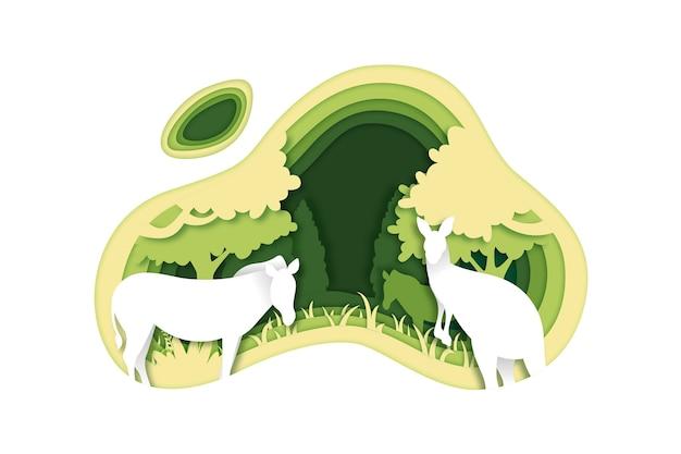 Milieuconcept in papierstijl met dieren