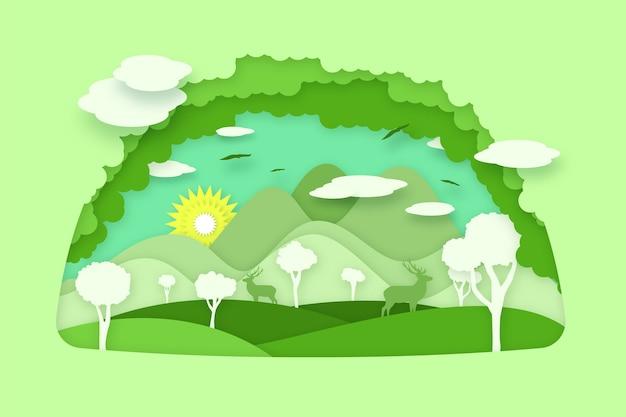 Milieuconcept in papierstijl