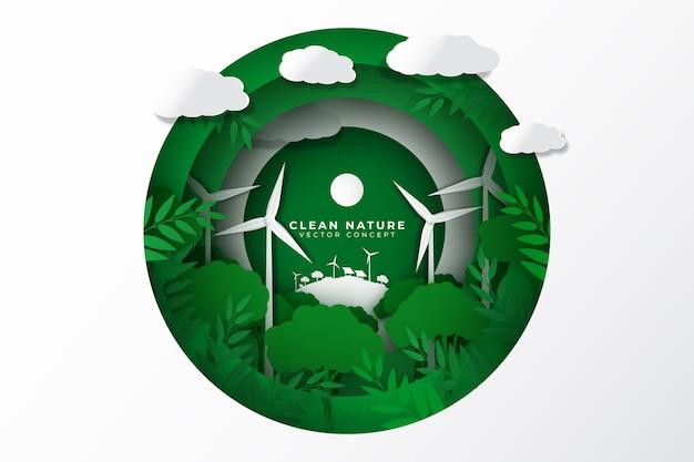 Milieuconcept met windmolens in papierstijl