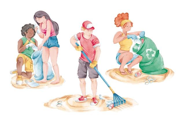 Milieumensen die strand schoonmaken
