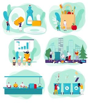 Milieuvervuiling schoonmakende activisten en vrijwilligersbeeldverhaal met de karakters van ecoproducten, illustratie