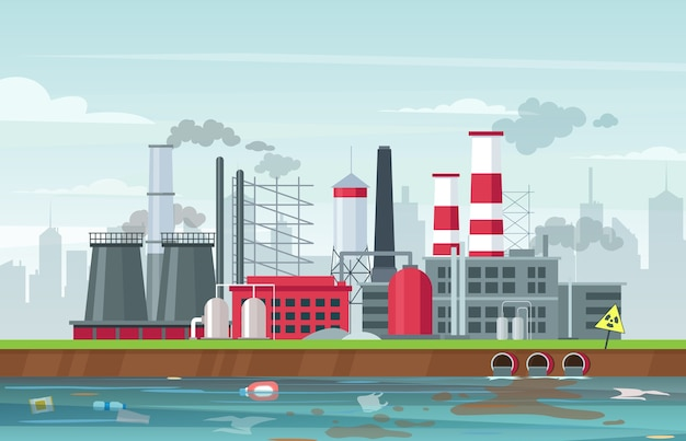 Milieuvervuiling vlakke afbeelding. fabrieksgebouwen die rook uitstoten, verontreinigende gassen uitstoten. lucht- en waterverontreiniging. industriële smog, afvalverontreiniging. wereldwijd ecologisch probleem