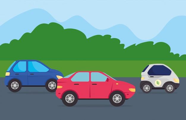 Milieuvriendelijk concept, elektrische auto's in de weg