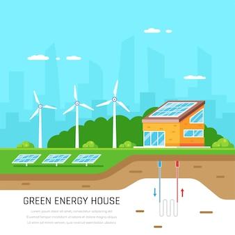 Milieuvriendelijk huis. groene energie. zonne-, wind- en aardwarmte. vlakke stijl