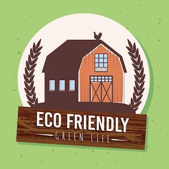 Milieuvriendelijk label met boerderij