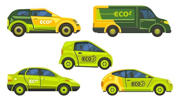 Milieuvriendelijke auto's of elektrische voertuigen. ecologie milieu voertuigen, groene iconen van elektrische energie. elektroauto's met groen bladteken, stadsbussen en taxi, autotechnologie