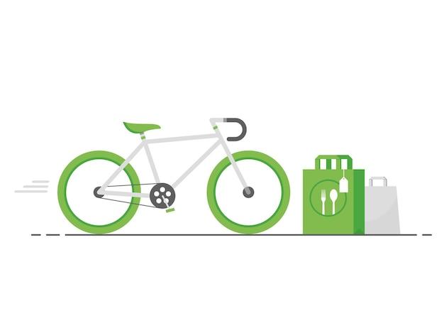 Milieuvriendelijke bezorging van eten op groene fiets