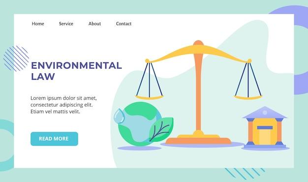 Milieuwet gelijke schaal rechtbank aarde campagne ontwerp vectorillustratie