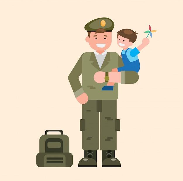 Militair dragende kinderen, militair die van plichtsillustratie naar huis komt