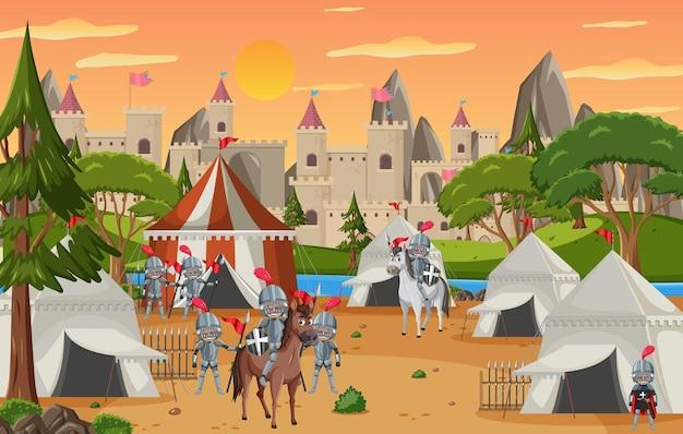 Militair middeleeuws kamp met tenten en kasteel