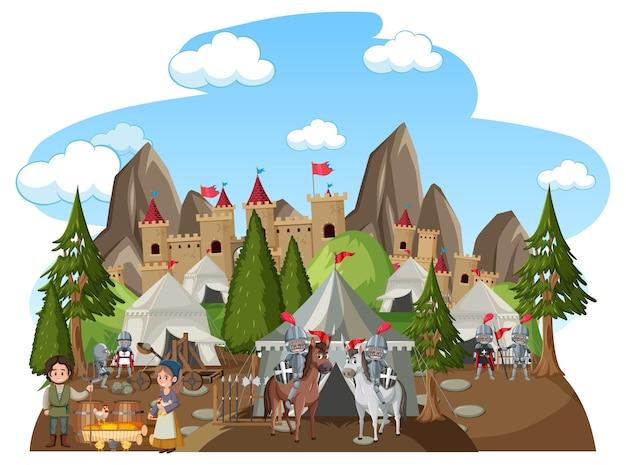 Militair middeleeuws kamp op witte achtergrond