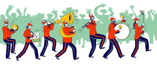 Militair orkestpersonages die feestelijk rood uniform en hoeden dragen