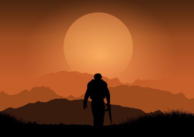 Militair tegen zonsonderganglandschap