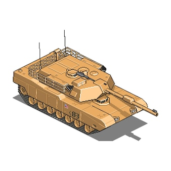 Militair voertuig voor illustratie van oorlogspixelspel