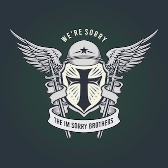 Militair waren sorry brother mascot classic emblem-illustraties.