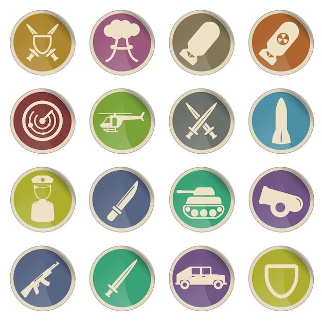 Militaire eenvoudig vector icon set